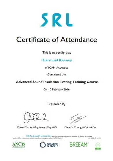 Certificate SRL ICAN Acoustics